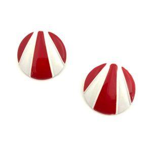 Jewelry - Vintage Striped Enamel Earrings Red White Studs